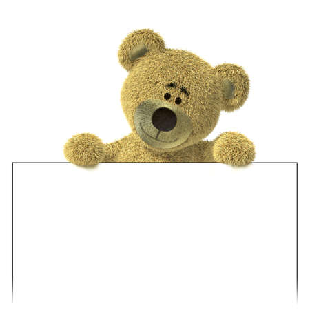 oso blanco: Nhi oso con una cartelera blanca vac�a, mirando hacia abajo en un marcador de posici�n. Coloque aqu� su texto o logotipo. Aislados sobre fondo blanco.