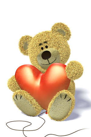 Nhi Bear sits on the ground, holding a heartshaped balloon, smiling, relaxing having a break. photo