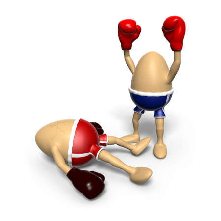 brown egg: Two eggs were boxing. One egg lies down on the ground with cracks on its shell, while the ones celebrating its victory.