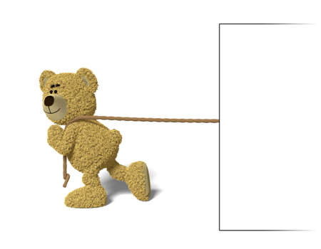 pulling rope: Nhi Bear pulling an empty billboard with a rope over its shoulder.