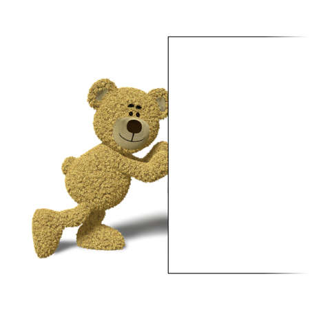 Nhi Bear pushing an empty billboard with his hands. You can place your logo or text into that empty box. Stock Photo - 6965544