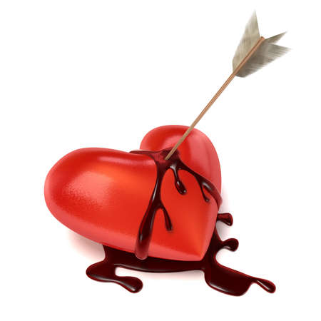 An arrow sits in a lying and bleeding Heart. Blood is running down on the sides creating a puddle of blood