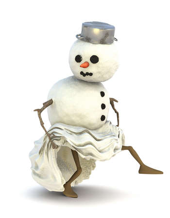 Schneemann mit Beinen Rock oben zieht und schleicht sich langsam Weg.
