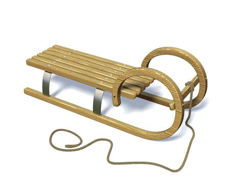 bobsled: Wooden sled in winter, isolated on a white background Stock Photo