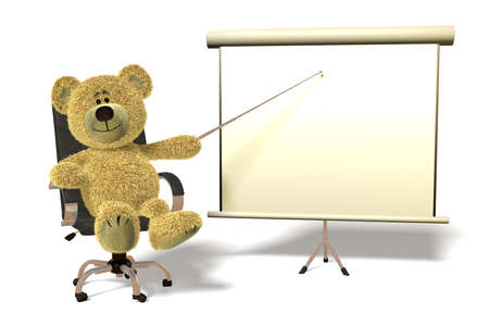 office presentation: Teddy Bear sitting in an office chair, holding a pointer towards a white board.