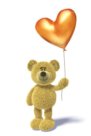 Nhi Bear standing with a heartshaped balloon.