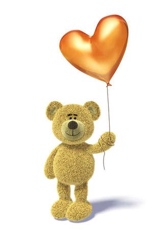 balloons teddy bear: Nhi Bear standing with a heartshaped balloon.