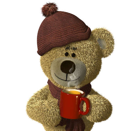 Nhi Bear holding a steaming mug of tea. photo