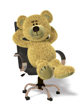 settle back: Nhi Bear relaxes in office-chair.