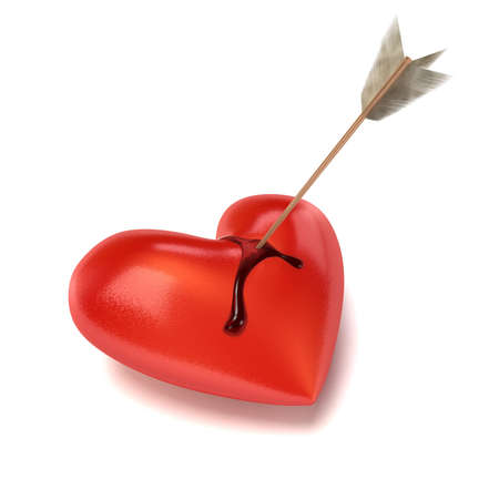 bleeding: An arrow sits in a lying and bleeding Heart. Blood is running down on the sides. Cut-out with soft shadow.