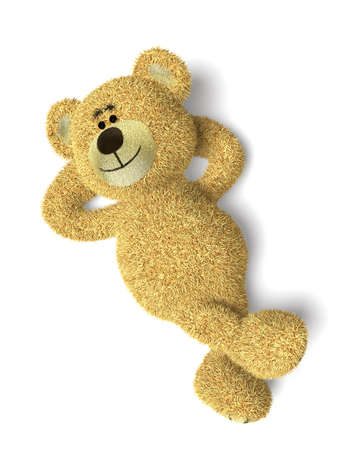 toy bear: Nhi Bear lying on its back, crossling legs, relaxing, looking into the sky.