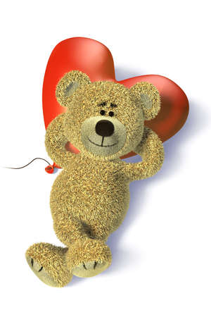Nhi Bear with heartshaped balloon relaxing. He's lying on it's back, crossing legs, using the balloon as it it was a pillow. Stock Photo - 7923860