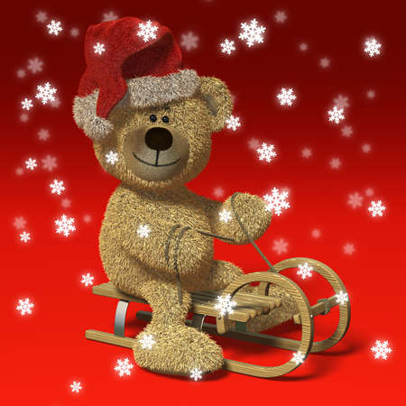 advent time: Nhi Bear riding a sledge wearing Santas cap, surrounded by snowflakes.