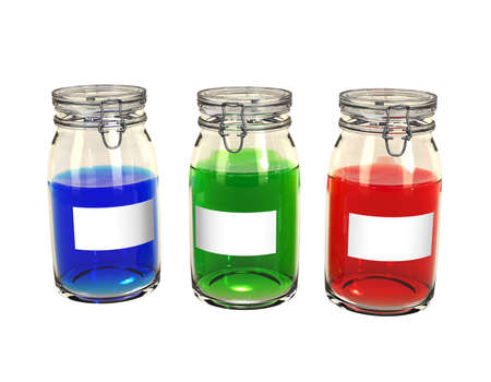 Three preserving jars lined up with colorful contents and blank labels. Isolated. photo
