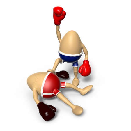 looser: Two eggs were boxing. One egg lies down on the ground with cracks on its shell, while the ones celebrating its victory.