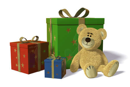 Nhi Bear with christmas-presents and birthday-presents. Teddy sitting between three different colored gift boxes. photo