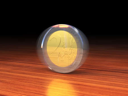 silver coins: Spinning 2 Euro coin on a wooden desk. Stock Photo