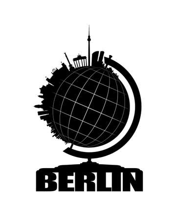 The skyline of Gemany's capital Berlin sits on one side of an earth-globe. White lines of latitudes and longitudes are drawn onto the black globe. The whole globe stands on letters forming the name Berlin. This vector-illustration is black and white and i