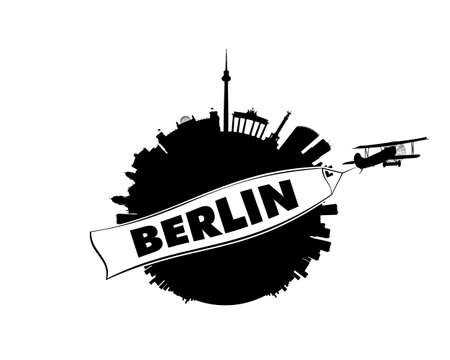 labeled: The skyline of Gemanys capital Berlin in semi-stereographic projection looks like a small planet. An airplane with a white banner is flying by in the foreground. The banner is labeled with the name Berlin.This vector-illustration is black and white and i