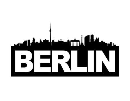panoramic view: The skyline of Gemanys capital Berlin with the citys name on its base. This vector-illustration is black and white and isolated.