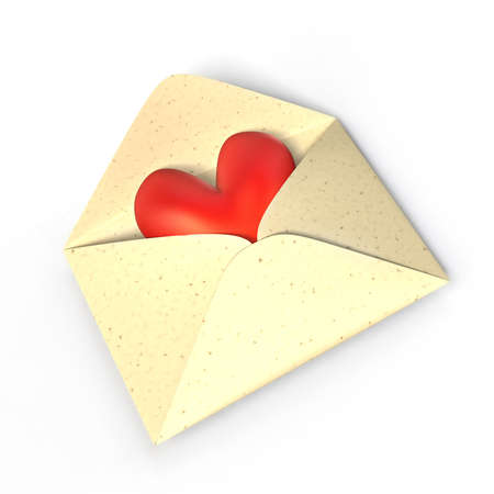 herz: Ein rotes Herz in einem geöffneten Briefumschlag, wird zur Hälfte vom Papier verdeckt. A red heart in a on opened envelope, its partly covered by the paper.