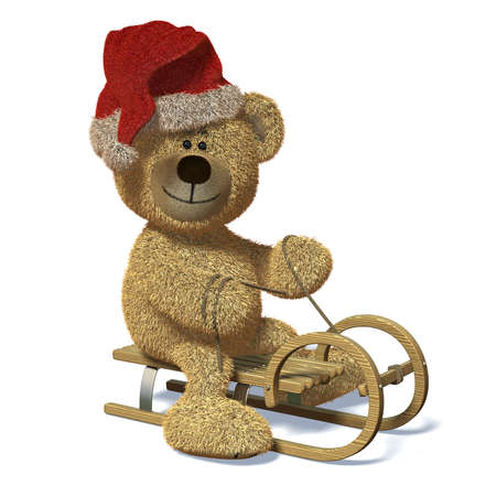 Nhi Bear riding a sledge with Santas Cap on his head and a rope in his hands.