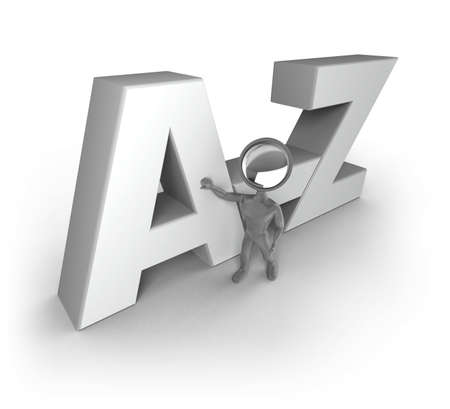 glossary: A Search-Man with a lens as his head, standing next to and touching the big letters A-Z.