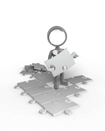 Cartoon with a magnifying glass as his head, stands in between of a puzzle and holds a puzzle-part in his hands. photo