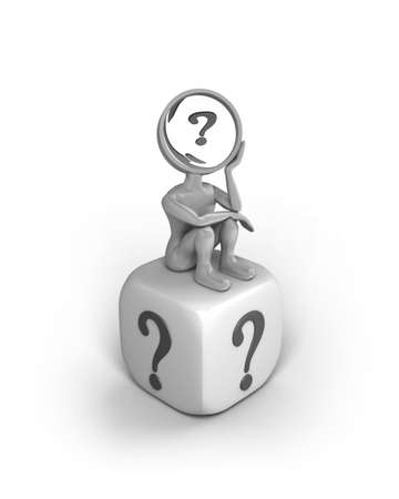 A cartoon character with a magnifying glass as his head. He sits with a thinking pose on a dice with a question mark on each side.