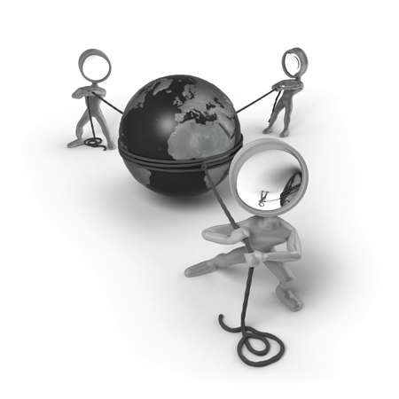 pulling rope: Three cartoon characters with a magnifying glass as his head. They are pulling ropes connected with a globe in between of them. Stock Photo