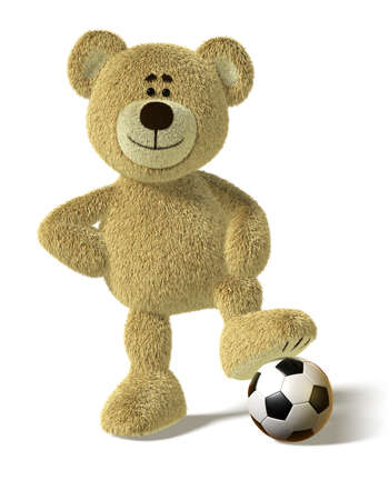 Teddy Bear smiles and stands with one foot on a soccer ball. His right hand on his hips in a cool champions pose. This image is isolated on a white background with soft shadows Stock Photo - 8352396