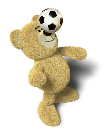 Teddy Bear stands with both feet on the ground, leans back and tries to balance a soccer ball on his nose. This image is isolated on a white background with soft shadows. Stock Photo - 8352395