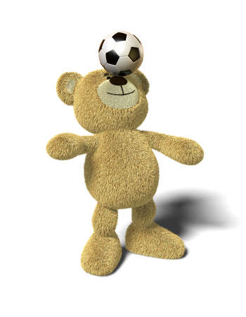 Teddy Bear stands with both feet on the ground, leans back and tries to balance a soccer ball on his nose. Viewed from front. This image is isolated on a white background with soft shadows. photo
