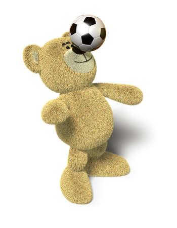 Teddy Bear stands with both feet on the ground, leans back and tries to balance a soccer ball on his nose. This image is isolated on a white background with soft shadows. photo