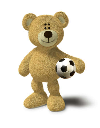Teddy Bear smiles while he stands in front of a white background and holds a soccer ball in his left arm. This image is isolated on a white background with soft shadow. photo