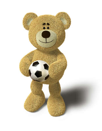 Teddy Bear smiles and holds a soccer ball in both hands in front of his belly. This image is isolated in front of a white background with soft shadow. photo