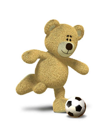 Teddy Bear is about to kick a soccer ball that lies in front of him. This image is isolated on a white background with soft shadow. photo