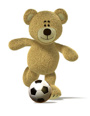 kick off: Teddy Bear is running and about to kick off a soccer ball in front of him. This image is isolated on white with soft shadows.