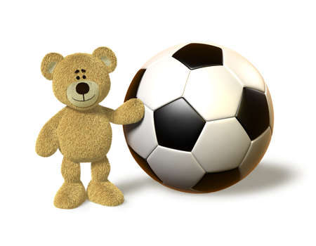 Teddy Bear stands next to a giant soccer ball, touches it with his left hand and smiles. Stock Photo - 8352386