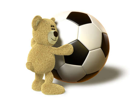 A teddy bear hugs a huge Soccer Ball and smiles. This image is isolated on a white background with soft shadows. photo