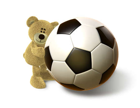 A teddy bear embraces a huge Soccer Ball and smiles. Viewed from front. This image is isolated on a white background with soft shadows. photo