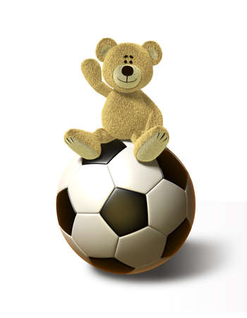 cartoon bear: A teddy bear sits on a huge soccer ball, smiles and holds his right hand up in the air. This image is isolated on a white background with soft shadows.