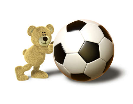 A teddy bear pushes a huge soccer ball with both hands and smiles. This image is isolated on a white background with soft shadows. photo