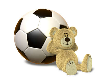 A teddy bear sits on the ground and leans his back against a huge soccer ball. He smiles and folds his arms behind his head. This images is isolated on a white background with soft shadow. photo