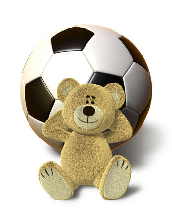 A teddy bear sits on the ground and relaxes. He leans his back against a huge soccer ball, smiles and folds his arms behind his head. This images is isolated on a white background with soft shadow. photo