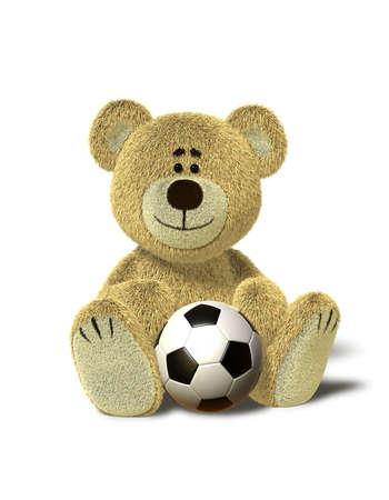 A cute teddy bear sits down on the floor with a soccer ball between his legs. Isolated on withe background with soft shadows. photo