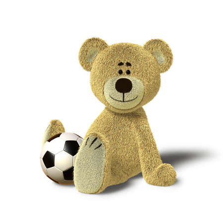 A cute teddy bear is sitting on the floor, supporting himself with both hands. He looks towards the camera and smiles. In front of him, between his legs there is a soccer ball. The image is isolated on white background with soft shadows. Stock Photo