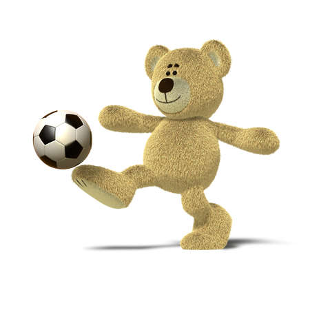 goal kick: A teddy bear is kicking a soccer ball up into the air with his right leg. The image is isolated on a white background with soft shadows.