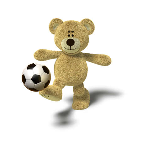 kicking ball: A teddy bear is kicking a soccer ball up into the air with his right leg. Viewed from the front, side views also available. The image is isolated on a white background with soft shadows. Stock Photo