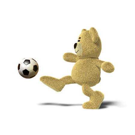 A teddy bear is kicking a soccer ball up into the air with his right leg. Viewed from the side, front views also available. The image is isolated on a white background with soft shadows. photo
